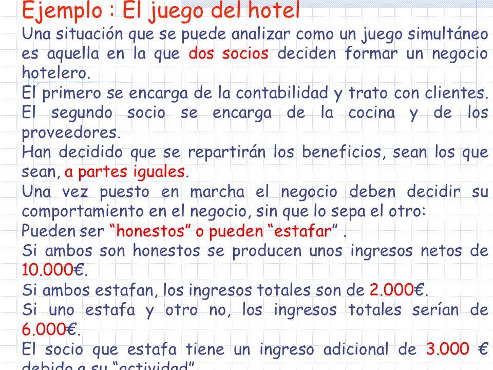 Ejemplo : El juego del hotel Una situación que se puede analizar como un juego simultáneo es aquella en la que dos socios deciden formar un negocio hotelero.