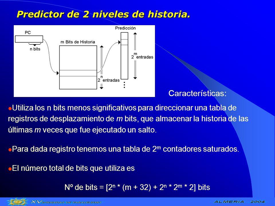 Predictor de 2 niveles de historia. Utiliza los n bits menos significativos para direccionar una tabla de registros de desplazamiento de m bits, que a