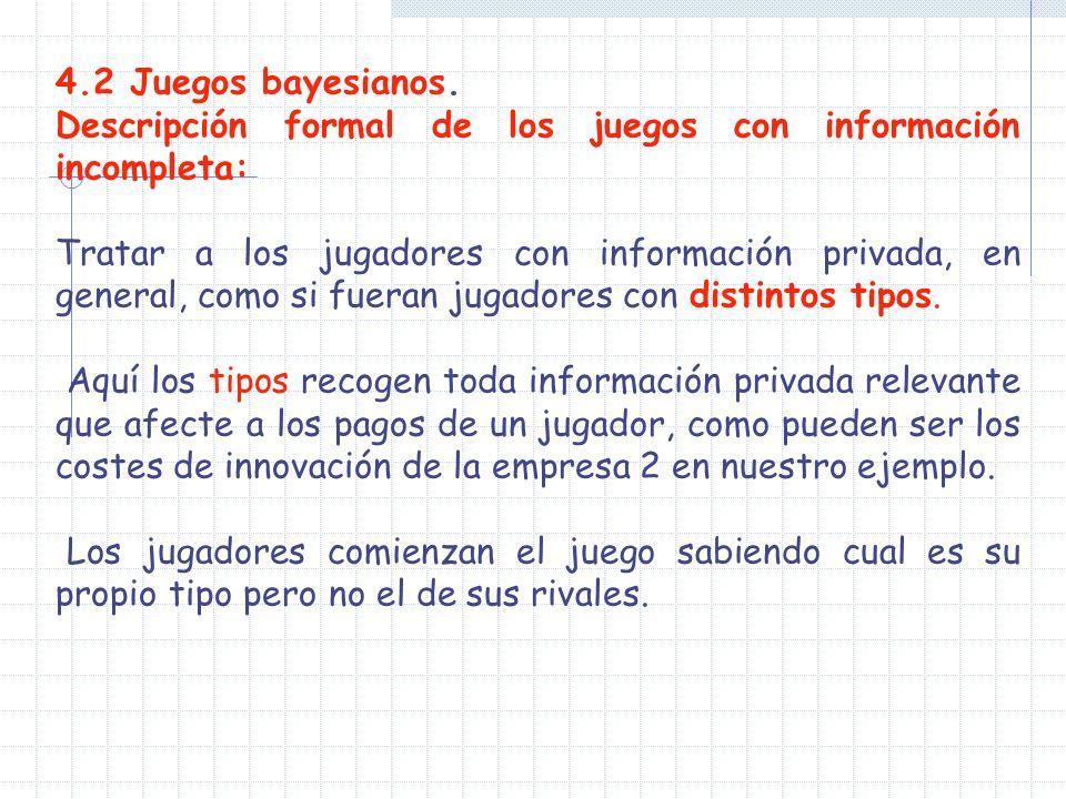 4.2 Juegos bayesianos. Descripción formal de los juegos con información incompleta: Tratar a los jugadores con información privada, en general, como s