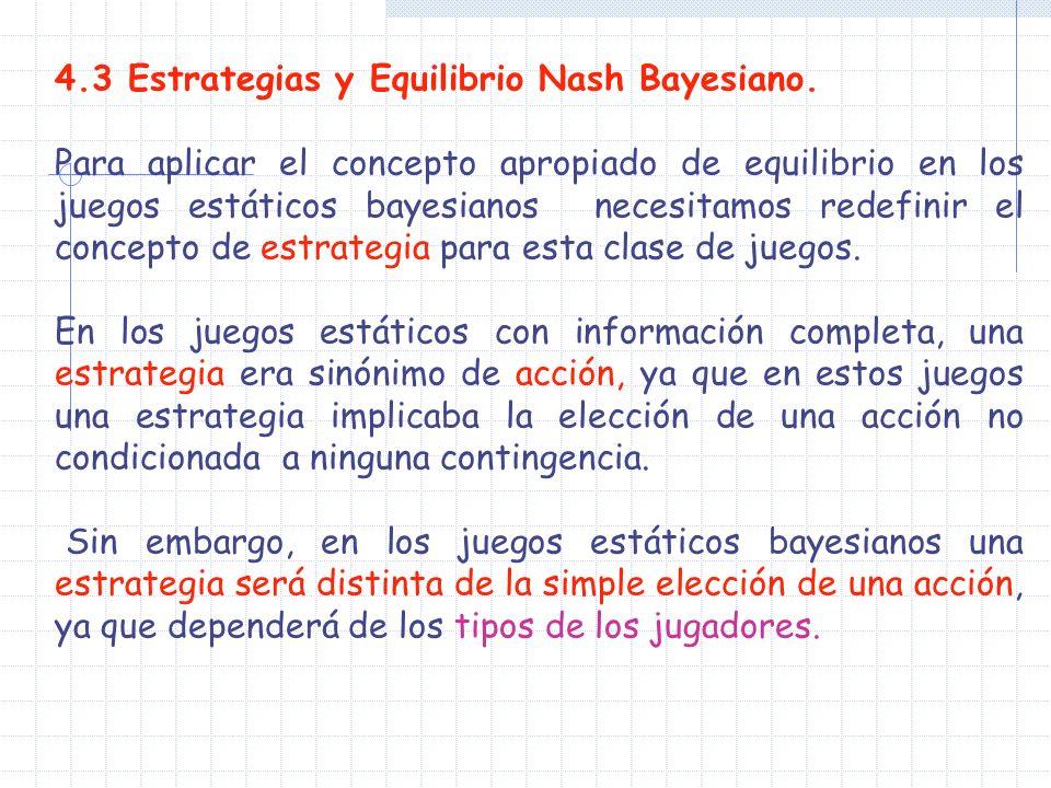 4.3 Estrategias y Equilibrio Nash Bayesiano. Para aplicar el concepto apropiado de equilibrio en los juegos estáticos bayesianos necesitamos redefinir