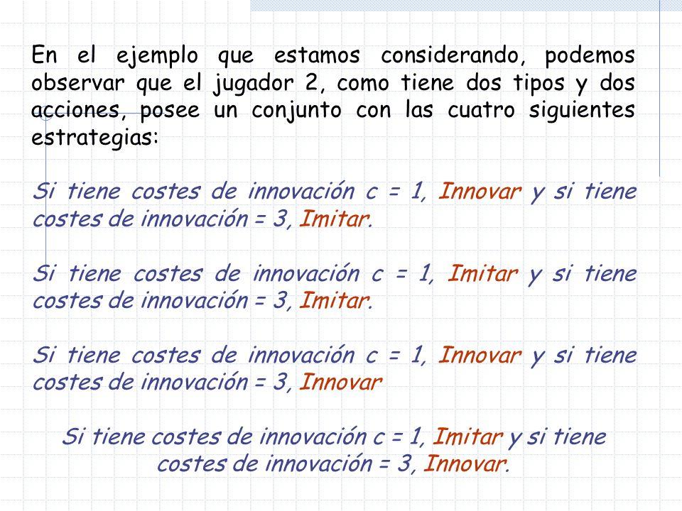 En el ejemplo que estamos considerando, podemos observar que el jugador 2, como tiene dos tipos y dos acciones, posee un conjunto con las cuatro sigui