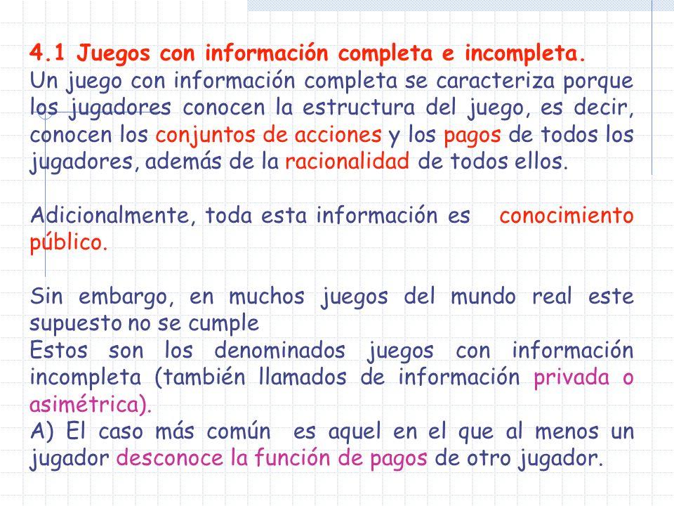 4.1 Juegos con información completa e incompleta. Un juego con información completa se caracteriza porque los jugadores conocen la estructura del jueg
