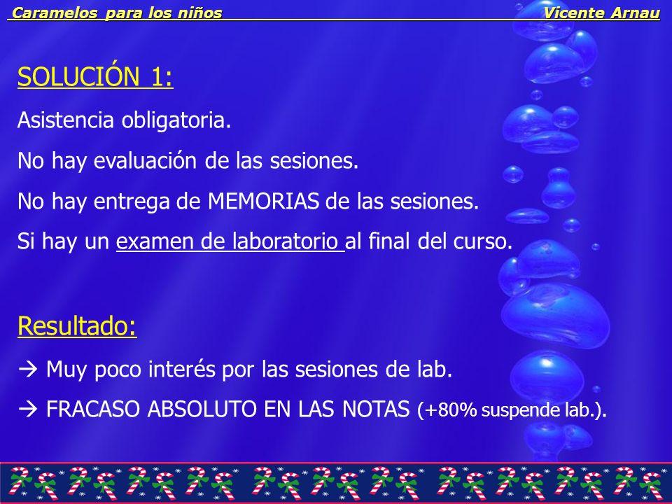 Caramelos para los niños Vicente Arnau Caramelos para los niños Vicente Arnau SOLUCIÓN 1: Asistencia obligatoria. No hay evaluación de las sesiones. N