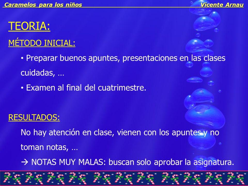 Caramelos para los niños Vicente Arnau Caramelos para los niños Vicente Arnau TEORIA: MÉTODO INICIAL: Preparar buenos apuntes, presentaciones en las c