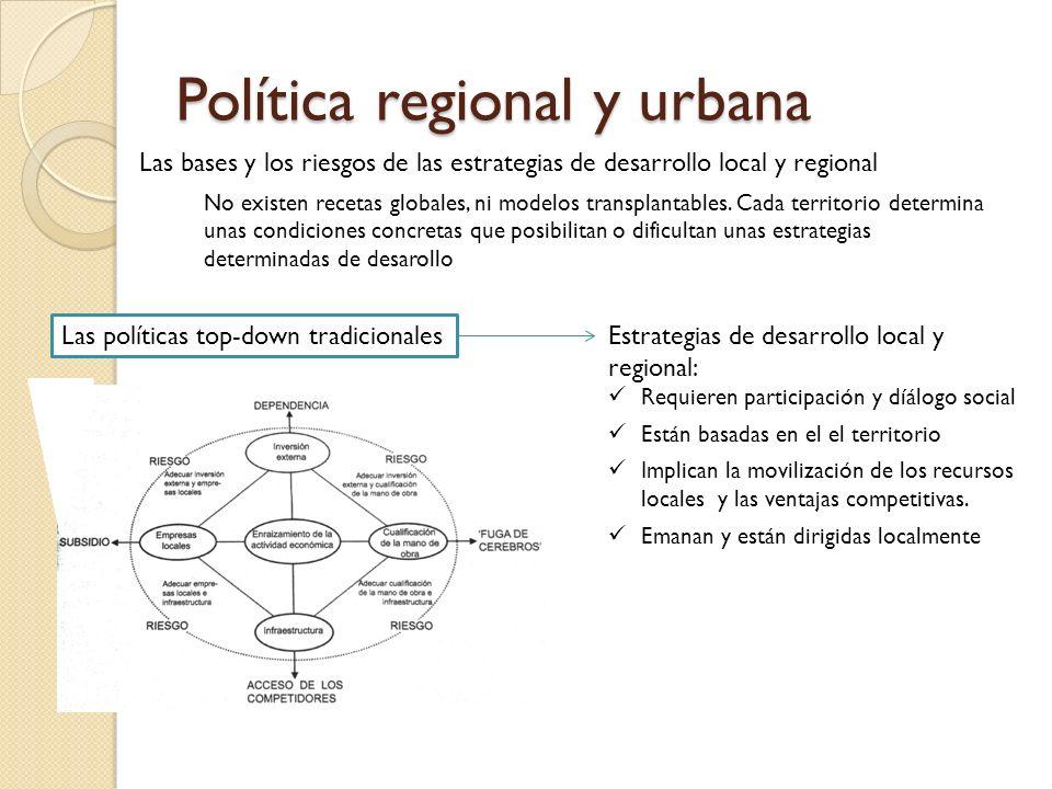 Política regional y urbana Las bases y los riesgos de las estrategias de desarrollo local y regional No existen recetas globales, ni modelos transplan