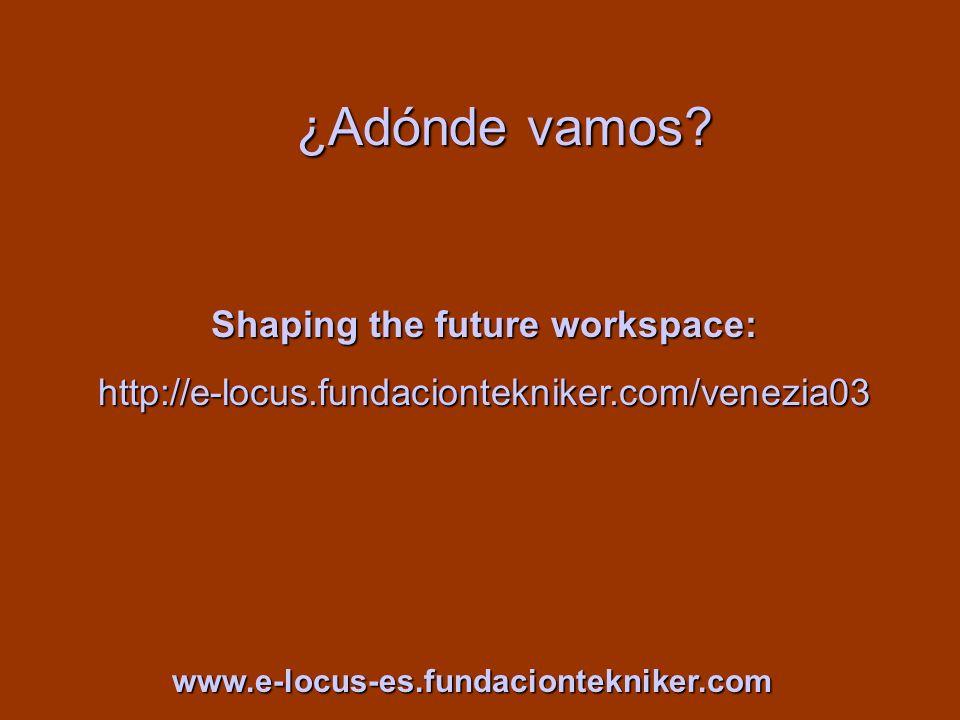 ¿Adónde vamos? Shaping the future workspace: http://e-locus.fundaciontekniker.com/venezia03 www.e-locus-es.fundaciontekniker.com