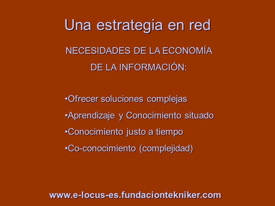 Una estrategia en red NECESIDADES DE LA ECONOMÍA DE LA INFORMACIÓN: www.e-locus-es.fundaciontekniker.com Ofrecer soluciones complejasOfrecer solucione