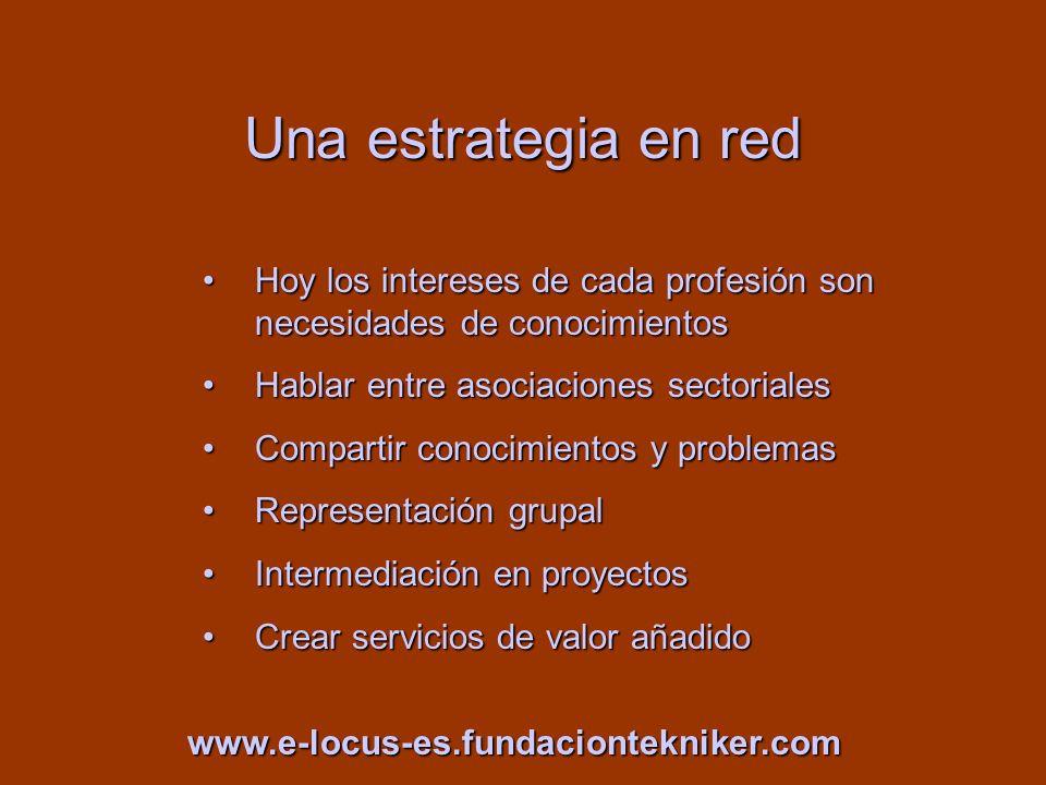 Una estrategia en red Hoy los intereses de cada profesión son necesidades de conocimientosHoy los intereses de cada profesión son necesidades de conoc