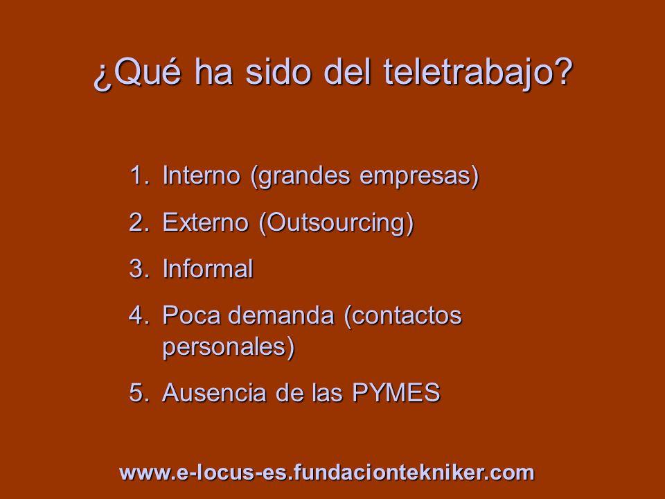 ¿Qué ha sido del teletrabajo? 1.Interno (grandes empresas) 2.Externo (Outsourcing) 3.Informal 4.Poca demanda (contactos personales) 5.Ausencia de las