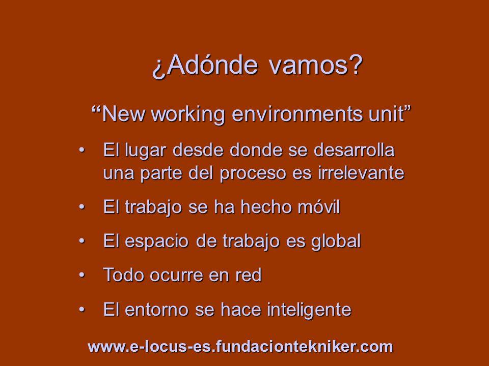 ¿Adónde vamos? New working environments unitNew working environments unit El lugar desde donde se desarrolla una parte del proceso es irrelevanteEl lu