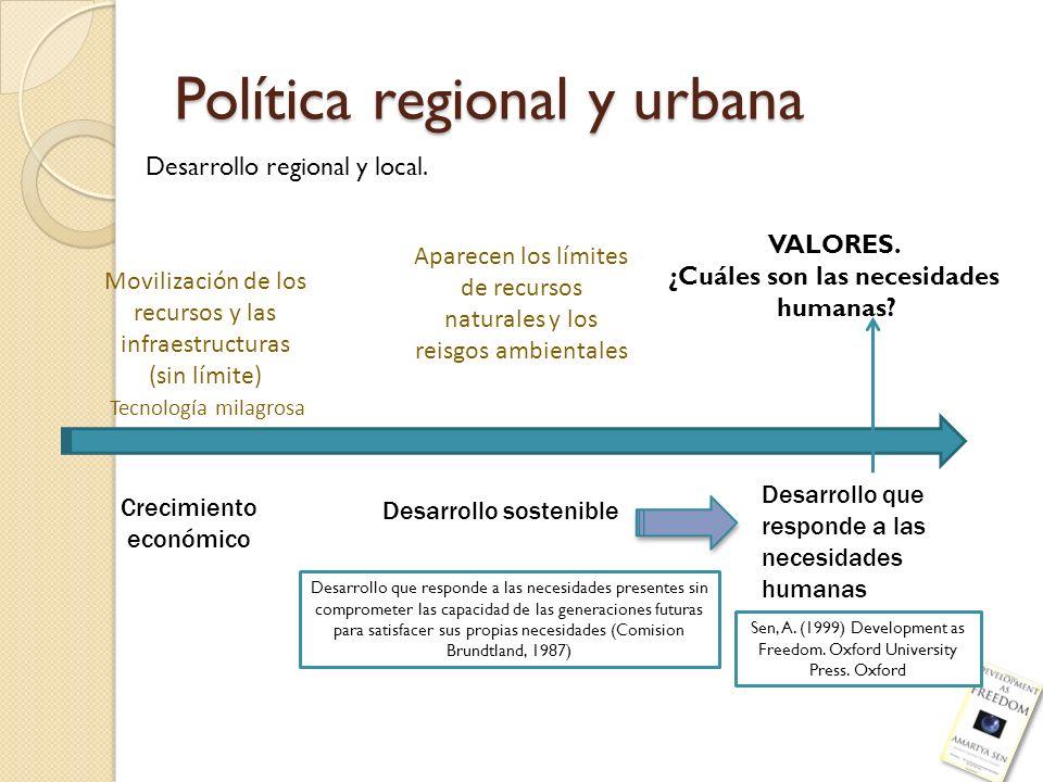 Política regional y urbana Desarrollo regional y local. Crecimiento económico Desarrollo sostenible Desarrollo que responde a las necesidades humanas