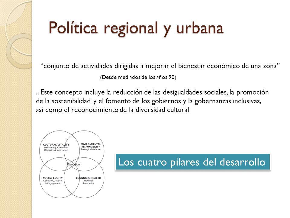 Política regional y urbana conjunto de actividades dirigidas a mejorar el bienestar económico de una zona (Desde mediados de los años 90).. Este conce