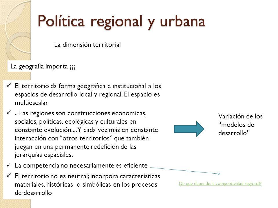 Política regional y urbana La dimensión territorial La geografia importa ¡¡¡ El territorio da forma geográfica e institucional a los espacios de desar