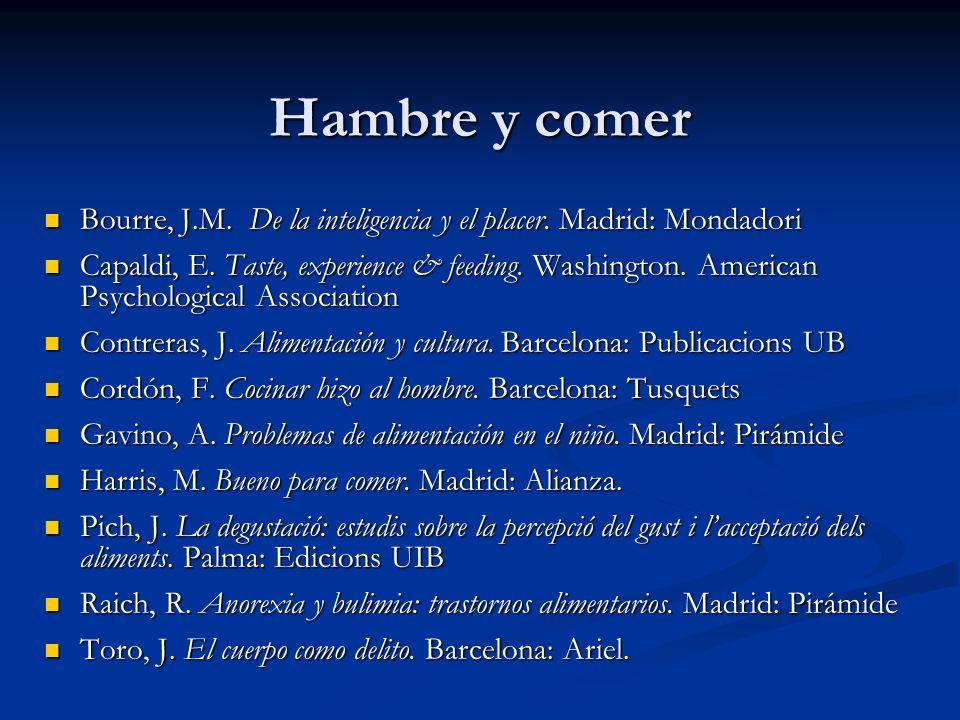 Hambre y comer Bourre, J.M. De la inteligencia y el placer. Madrid: Mondadori Bourre, J.M. De la inteligencia y el placer. Madrid: Mondadori Capaldi,