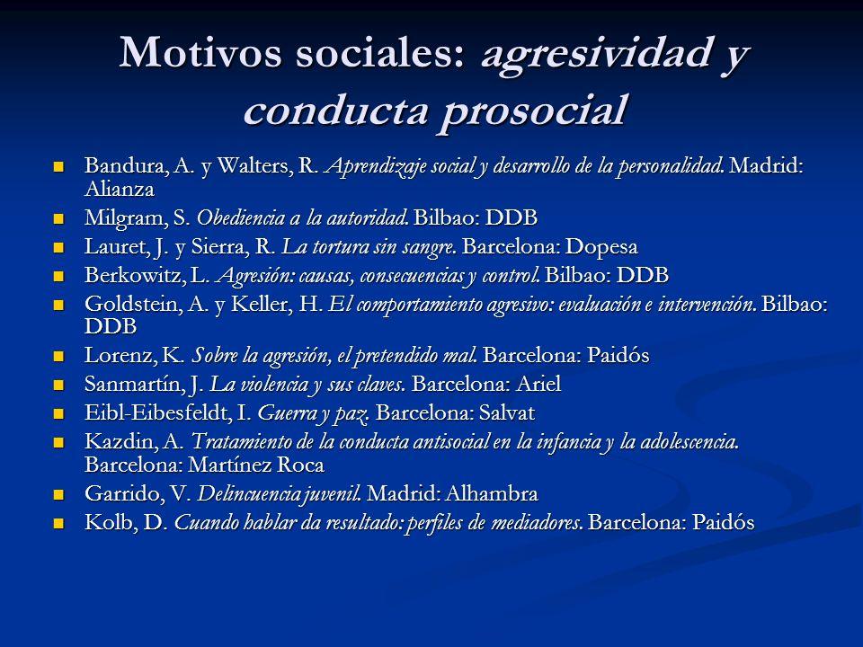 Motivos sociales: agresividad y conducta prosocial Bandura, A. y Walters, R. Aprendizaje social y desarrollo de la personalidad. Madrid: Alianza Bandu