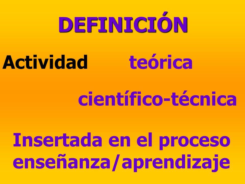 DEFINICIÓN Actividadteórica científico-técnica Insertada en el proceso enseñanza/aprendizaje