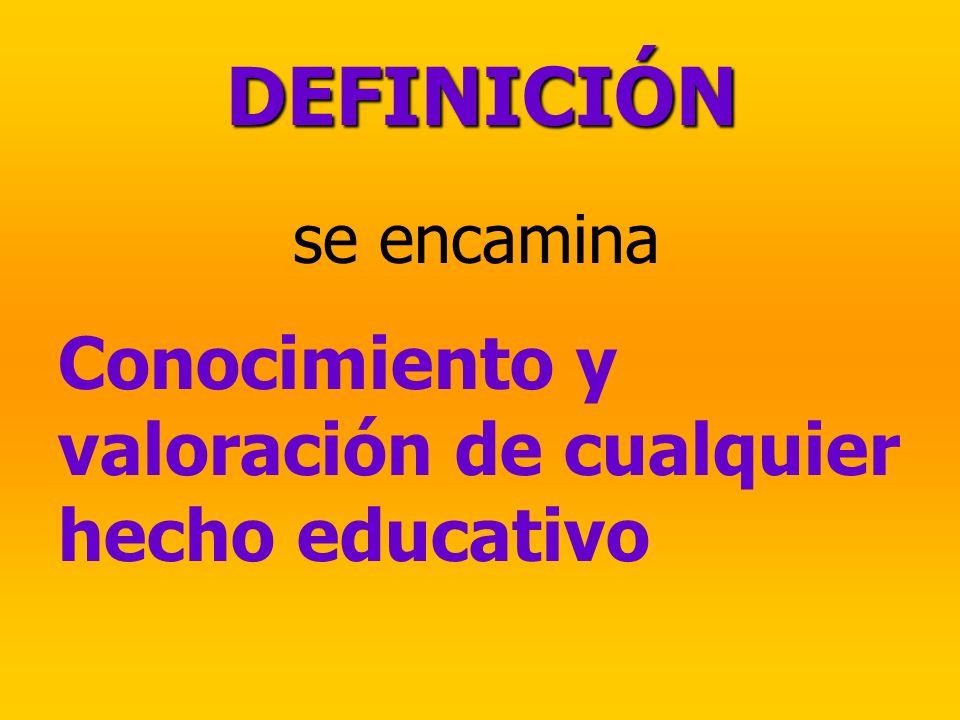 se encamina Conocimiento y valoración de cualquier hecho educativo DEFINICIÓN