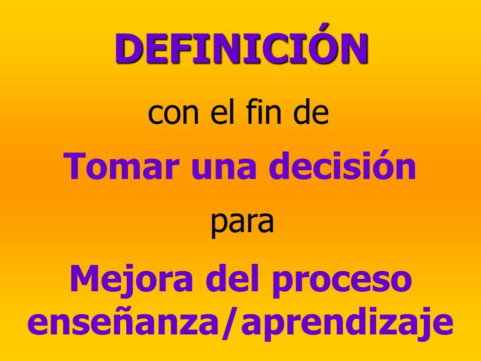 con el fin de Tomar una decisión DEFINICIÓN para Mejora del proceso enseñanza/aprendizaje