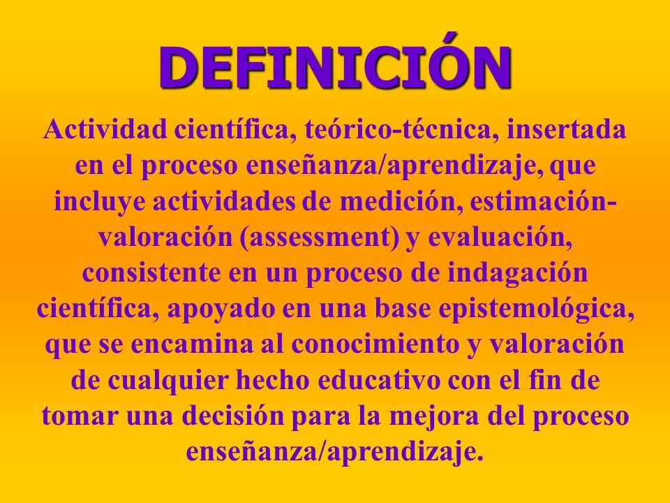 DEFINICIÓN Actividad científica, teórico-técnica, insertada en el proceso enseñanza/aprendizaje, que incluye actividades de medición, estimación- valo