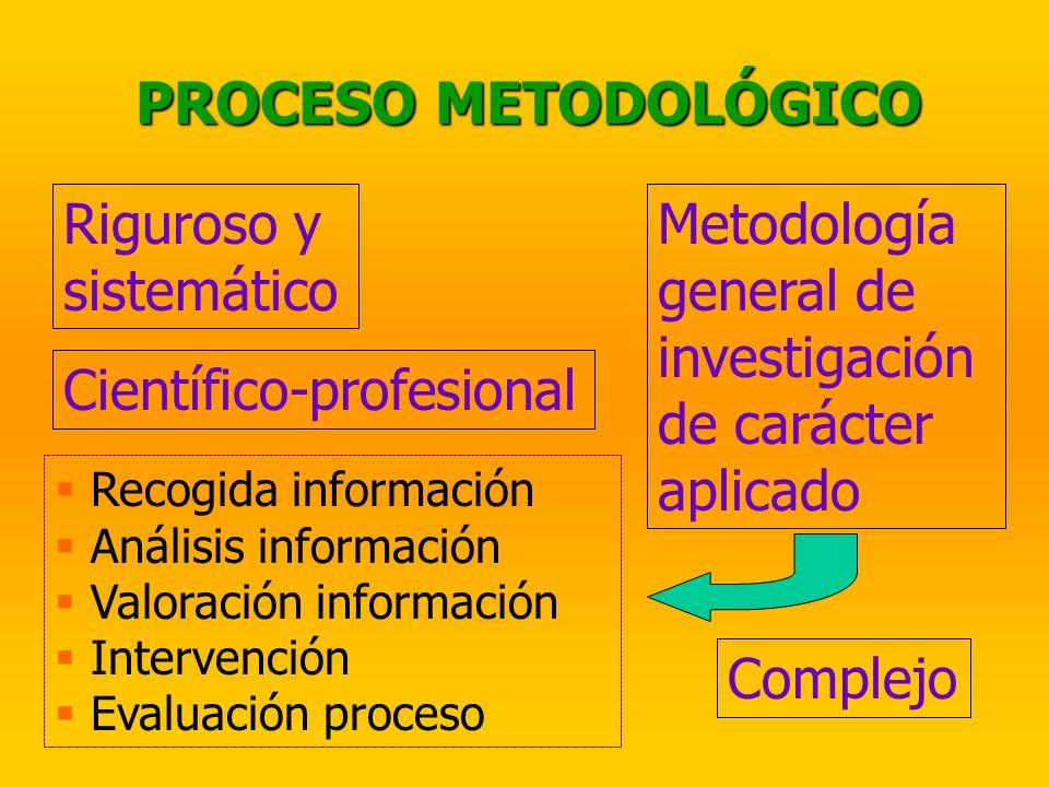 PROCESO METODOLÓGICO Riguroso y sistemático Metodología general de investigación de carácter aplicado Recogida información Análisis información Valora