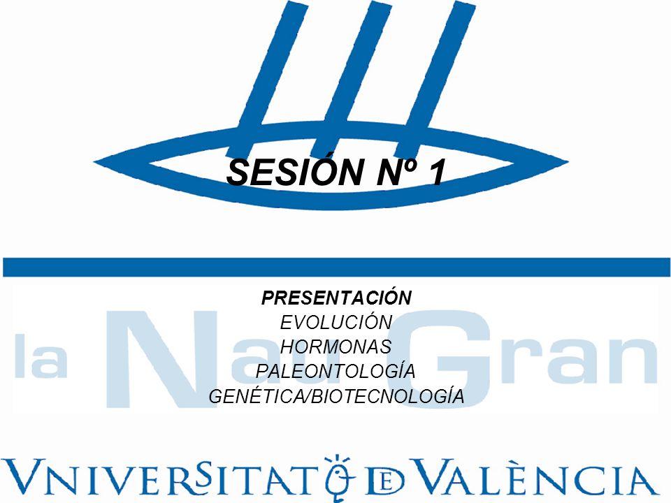 SESIÓN Nº 1 PRESENTACIÓN EVOLUCIÓN HORMONAS PALEONTOLOGÍA GENÉTICA/BIOTECNOLOGÍA
