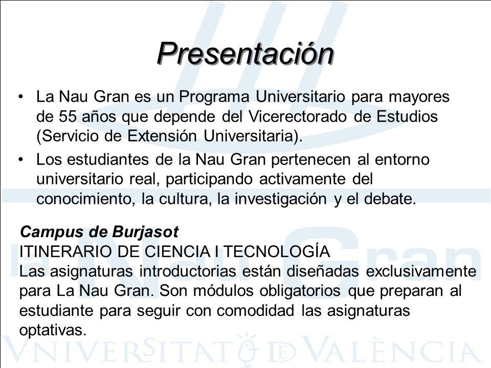 Presentación La Nau Gran es un Programa Universitario para mayores de 55 años que depende del Vicerectorado de Estudios (Servicio de Extensión Univers