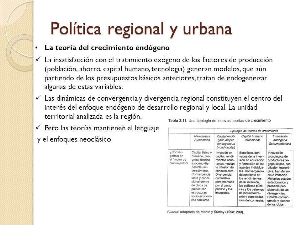 Política regional y urbana La teoría del crecimiento endógeno La insatisfacción con el tratamiento exógeno de los factores de producción (población, a