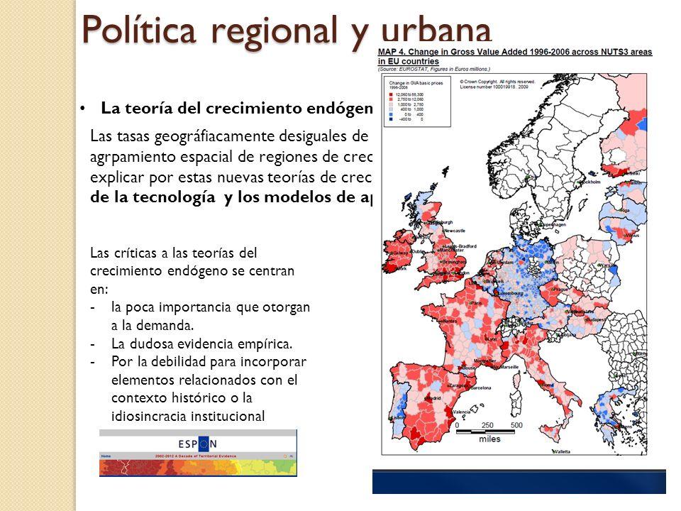 Política regional y urbana La teoría del crecimiento endógeno Las tasas geográfiacamente desiguales de convergencia regional y el agrpamiento espacial
