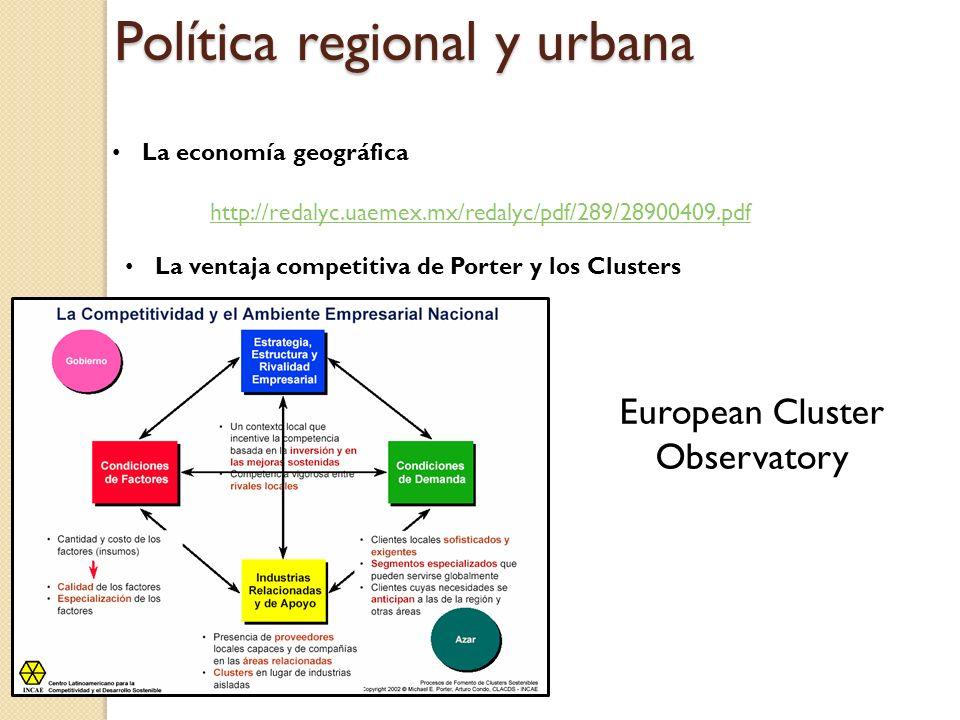 Política regional y urbana La economía geográfica http://redalyc.uaemex.mx/redalyc/pdf/289/28900409.pdf La ventaja competitiva de Porter y los Cluster