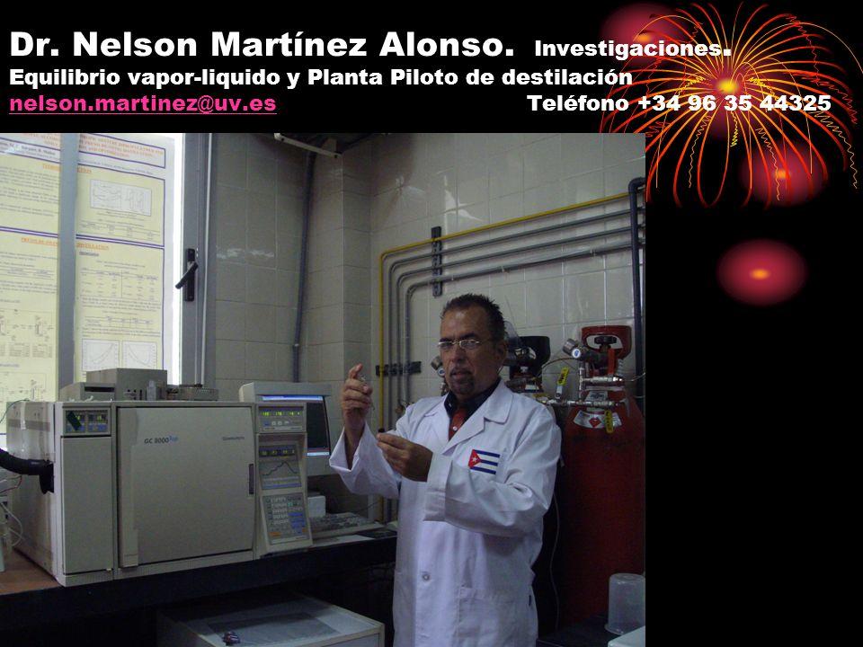 Dr. Nelson Martínez Alonso. Investigaciones. Equilibrio vapor-liquido y Planta Piloto de destilación nelson.martinez@uv.es Teléfono +34 96 35 44325 ne