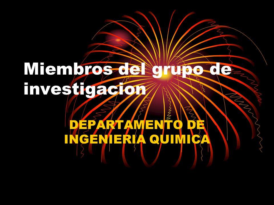 Miembros del grupo de investigacion DEPARTAMENTO DE INGENIERIA QUIMICA