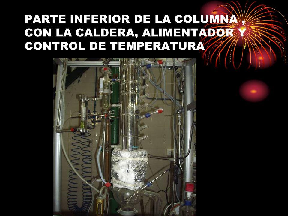 PARTE INFERIOR DE LA COLUMNA, CON LA CALDERA, ALIMENTADOR Y CONTROL DE TEMPERATURA