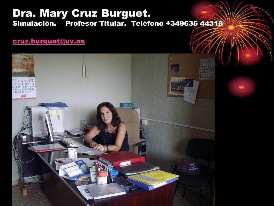 Dra. Mary Cruz Burguet. Simulación. Profesor Titular. Teléfono +349635 44318 cruz.burguet@uv.es cruz.burguet@uv.es