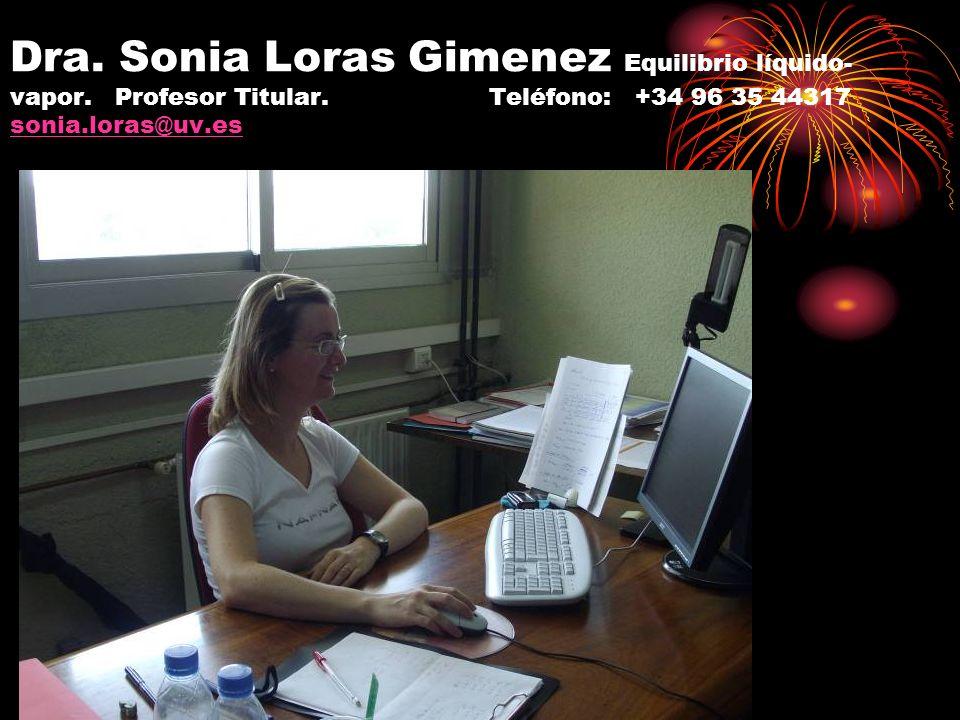Dra. Sonia Loras Gimenez Equilibrio líquido- vapor. Profesor Titular. Teléfono: +34 96 35 44317 sonia.loras@uv.es sonia.loras@uv.es