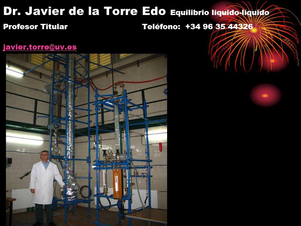 Dr. Javier de la Torre Edo Equilibrio líquido-líquido Profesor Titular Teléfono: +34 96 35 44326 javier.torre@uv.es javier.torre@uv.es