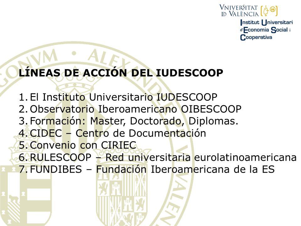 LÍNEAS DE ACCIÓN DEL IUDESCOOP 1.El Instituto Universitario IUDESCOOP 2.Observatorio Iberoamericano OIBESCOOP 3.Formación: Master, Doctorado, Diplomas