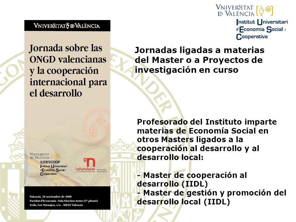 Jornadas ligadas a materias del Master o a Proyectos de investigación en curso Profesorado del Instituto imparte materias de Economía Social en otros