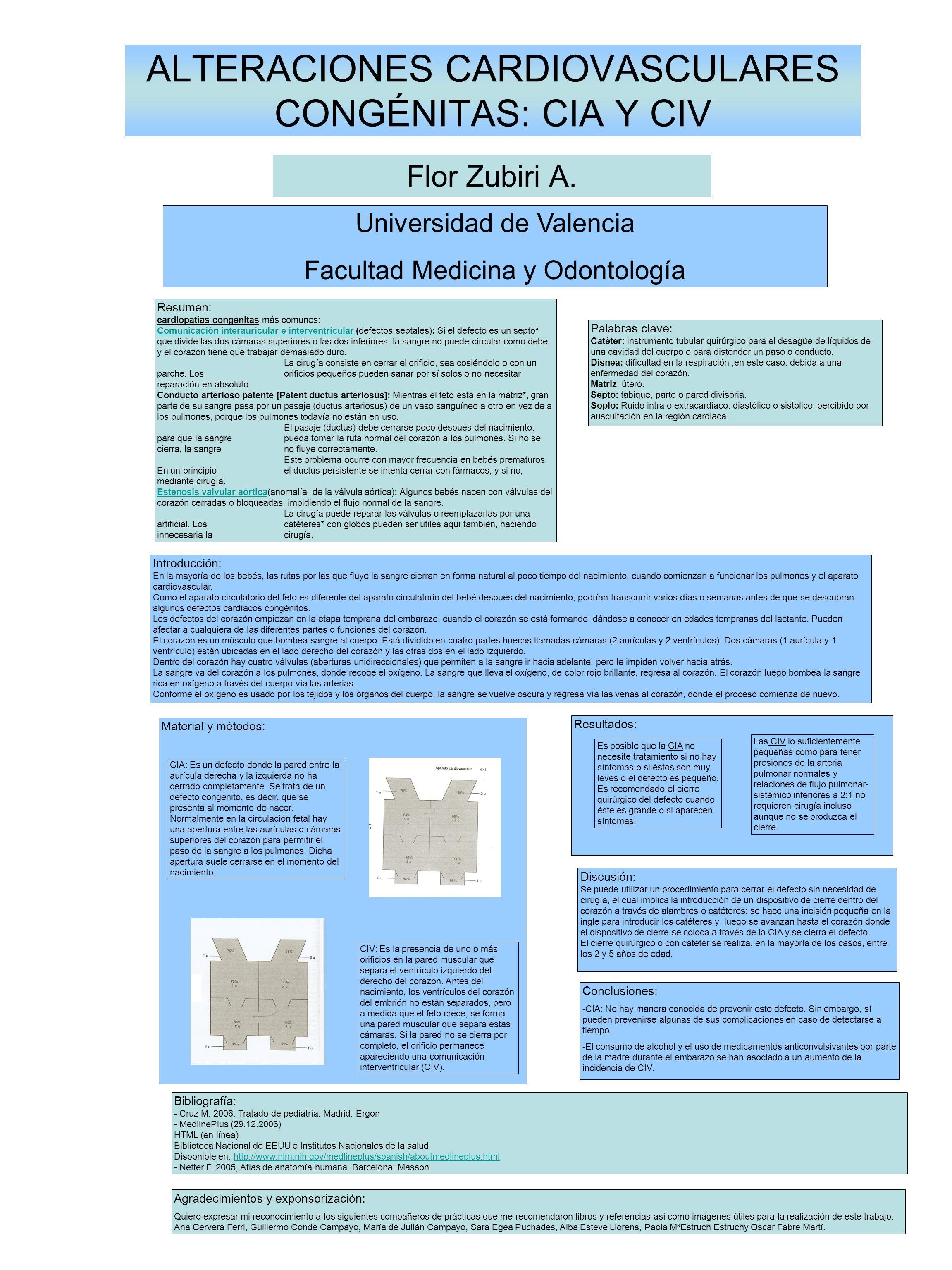 ALTERACIONES CARDIOVASCULARES CONGÉNITAS: CIA Y CIV Flor Zubiri A. Universidad de Valencia Facultad Medicina y Odontología Resumen: cardiopatías congé