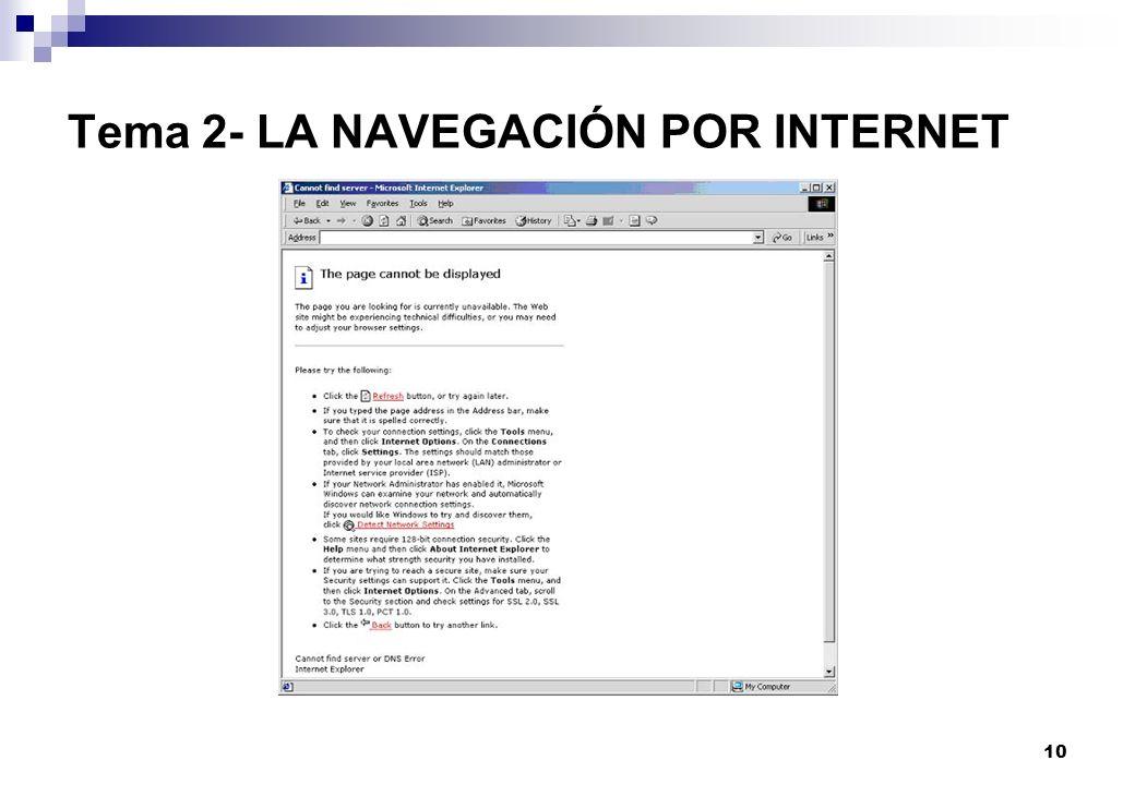 10 Tema 2- LA NAVEGACIÓN POR INTERNET