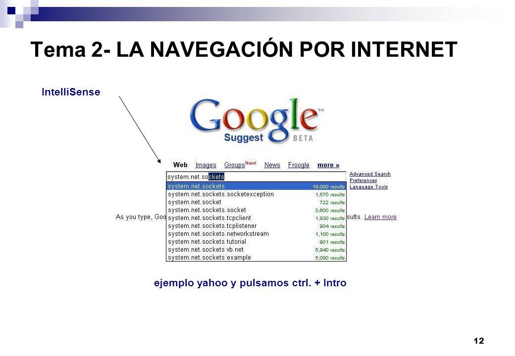 12 Tema 2- LA NAVEGACIÓN POR INTERNET IntelliSense ejemplo yahoo y pulsamos ctrl. + Intro