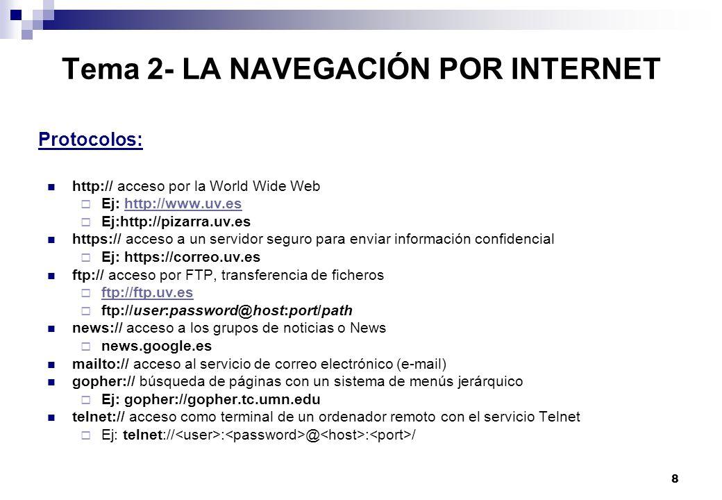 8 Tema 2- LA NAVEGACIÓN POR INTERNET http:// acceso por la World Wide Web Ej: http://www.uv.eshttp://www.uv.es Ej:http://pizarra.uv.es https:// acceso