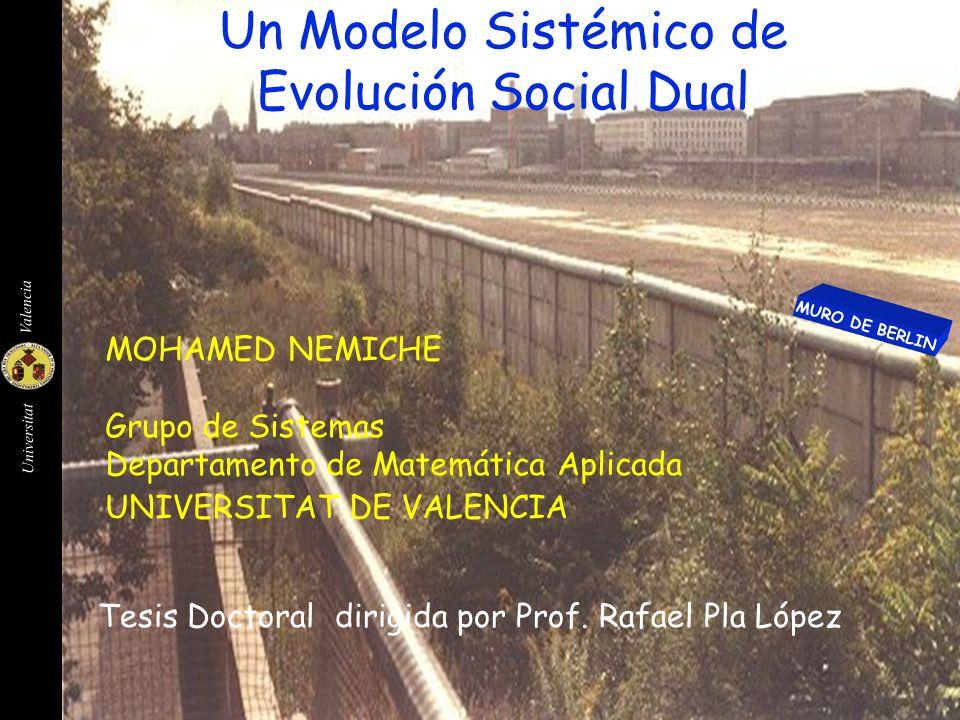 Universitat Valencia 2 0 NP-1 N 3NP/4 NP/2 NP/4 M Definición de un Subsitema Social Un subsistema N que está definido por tres variables: Una variable N {0,1,...,NP-1 } que indica su posición Una función de probabilidad P t (U,N) sobre un vector U=(U 0,,U 1,...,U m max -1 ) que representa el comportamiento social Una variable m t (N) {1,2,..., m max } que expresa la dimensión nativa del subsistema social N tal que: P t (U,N) =0 para todo U 2 m(N) cuando se inicializa