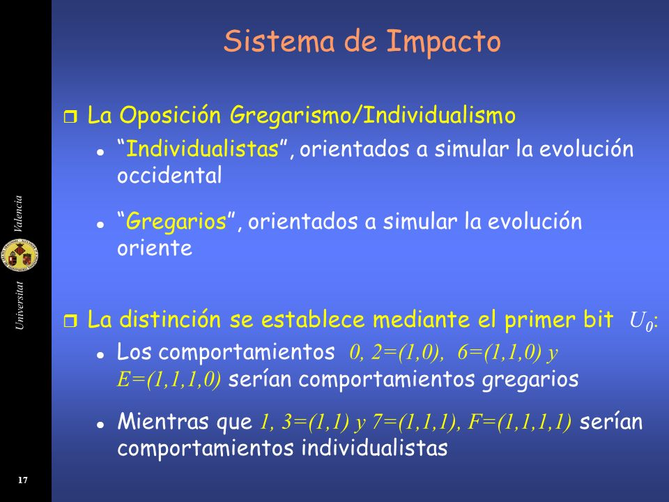 Universitat Valencia 17 Sistema de Impacto r La Oposición Gregarismo/Individualismo lIndividualistas, orientados a simular la evolución occidental lGr
