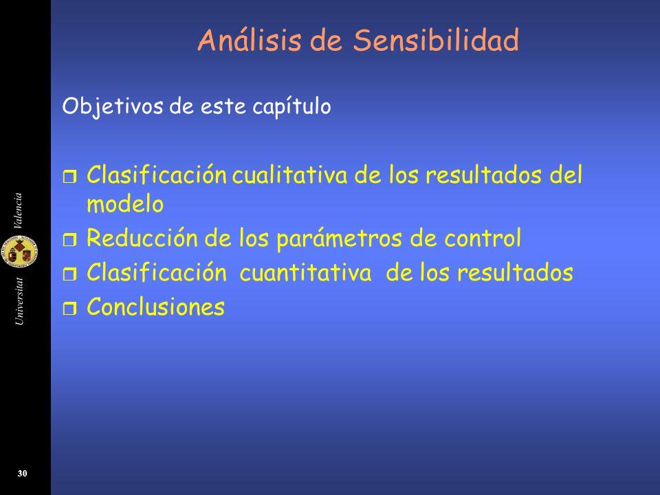 Universitat Valencia 30 Análisis de Sensibilidad Objetivos de este capítulo r Clasificación cualitativa de los resultados del modelo r Reducción de lo
