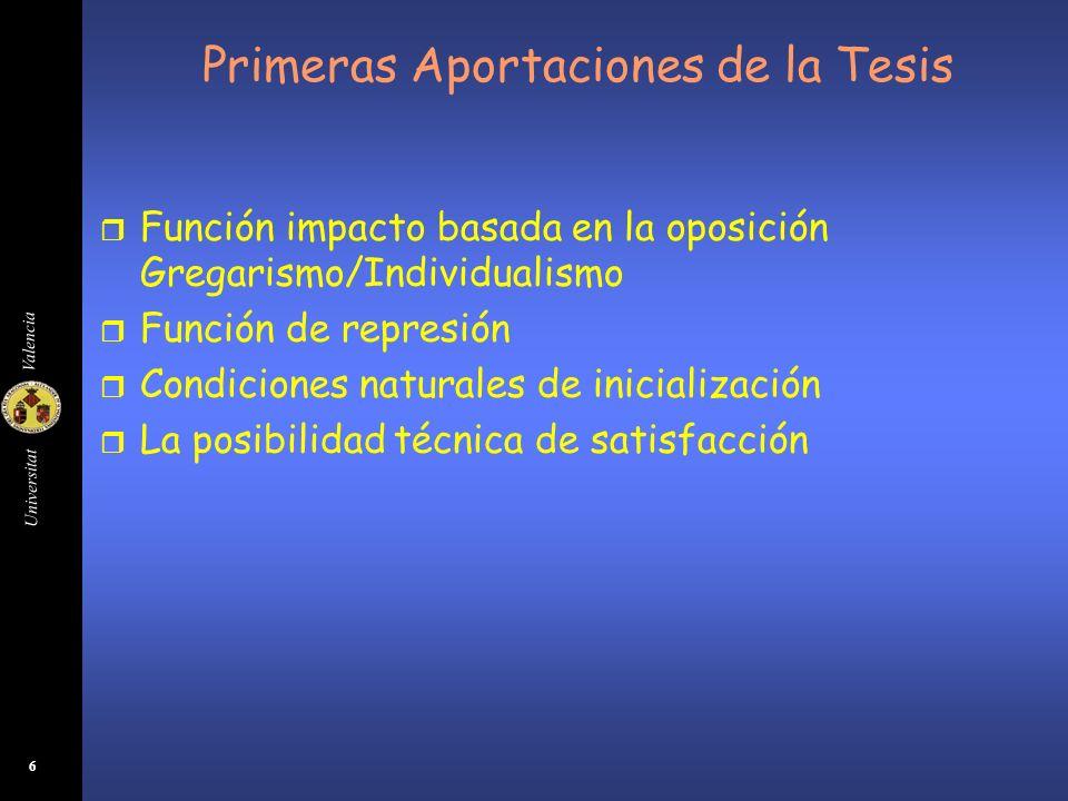 Universitat Valencia 6 Primeras Aportaciones de la Tesis r Función impacto basada en la oposición Gregarismo/Individualismo r Función de represión r C