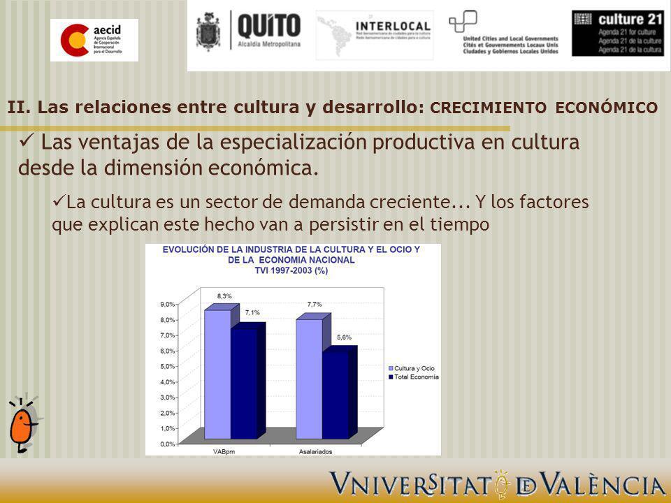 Las ventajas de la especialización productiva en cultura desde la dimensión económica.