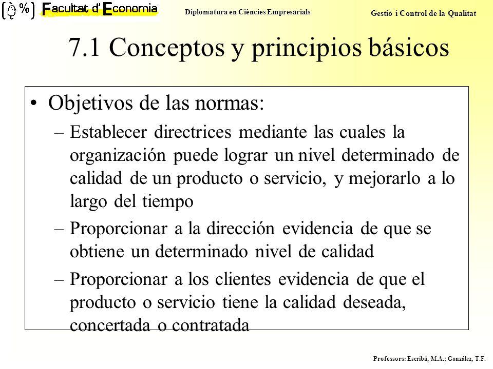 Diplomatura en Ciències Empresarials Gestió i Control de la Qualitat Professors : Escribá, M.A.; González, T.F. 7.1 Conceptos y principios básicos Obj