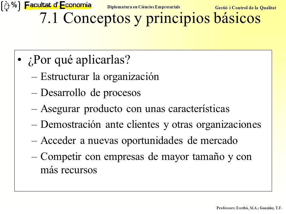 Diplomatura en Ciències Empresarials Gestió i Control de la Qualitat Professors : Escribá, M.A.; González, T.F. 7.1 Conceptos y principios básicos ¿Po