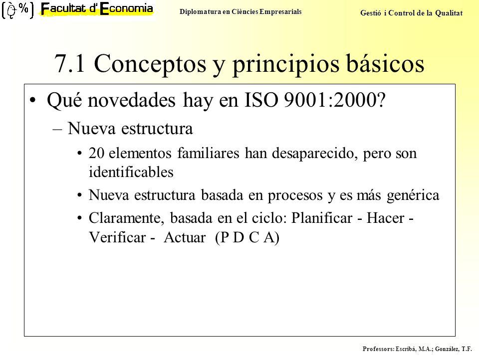 Diplomatura en Ciències Empresarials Gestió i Control de la Qualitat Professors : Escribá, M.A.; González, T.F. 7.1 Conceptos y principios básicos Qué