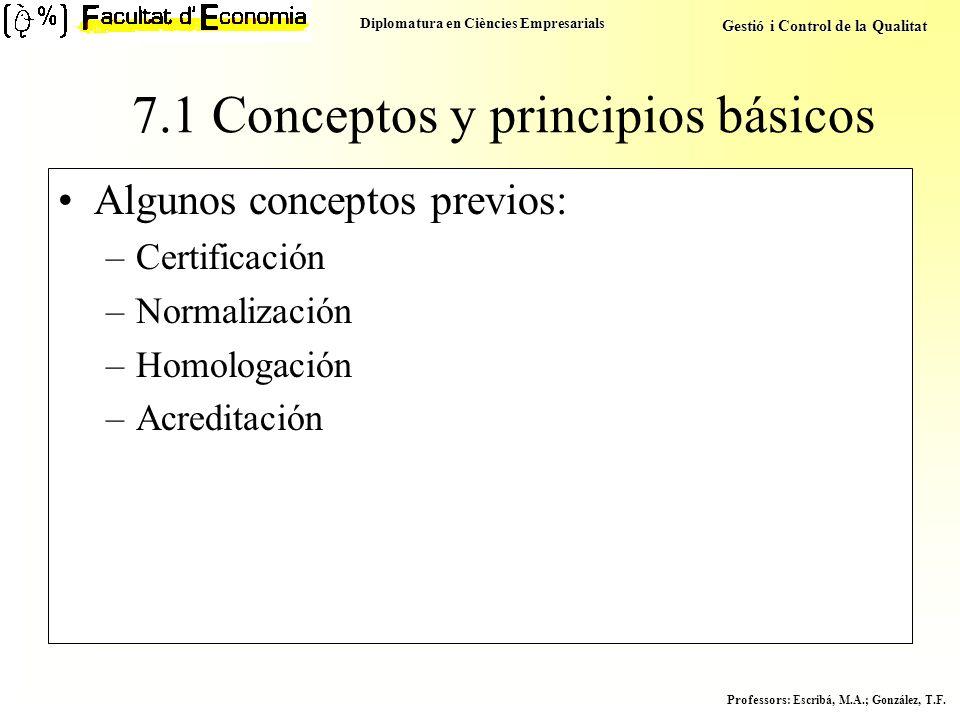 Diplomatura en Ciències Empresarials Gestió i Control de la Qualitat Professors : Escribá, M.A.; González, T.F. Algunos conceptos previos: –Certificac